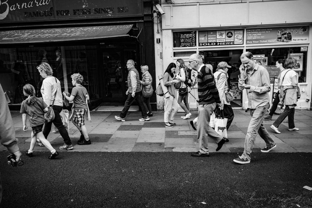 A Busy footpath in the heart of Dublin